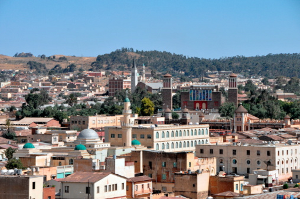 Une vue panoramique de Asmara en Érythrée